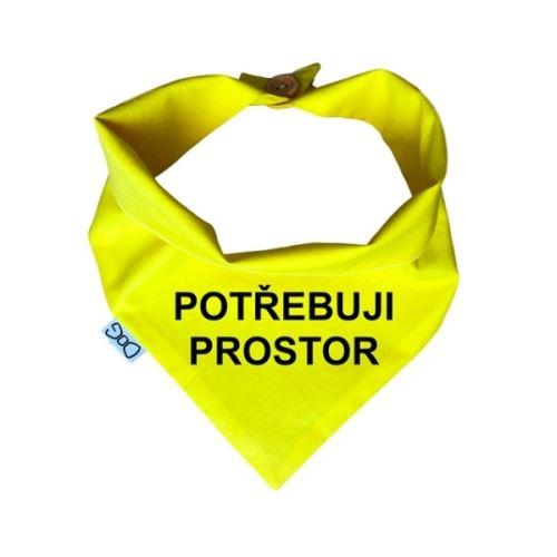 Funky Dog Žlutý šátek POTŘEBUJI PROSTOR - vel. L